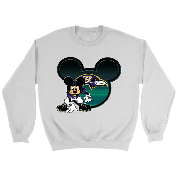 NFL – Baltimore Ravens Mickey Mouse Football Shirt-T-shirt-Crewneck Sweatshirt-White-S-Itees Global