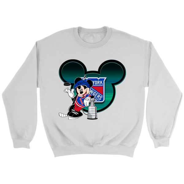 NHL – New York Rangers Mickey Mouse Hockey Disney Sweatshirt-T-shirt-Crewneck Sweatshirt-White-S-Itees Global