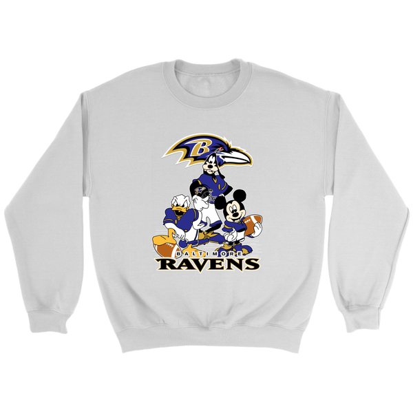 NFL - Baltimore Ravens Mickey Mouse Donald Duck Goofy Football Shirt-T-shirt-Crewneck Sweatshirt-White-S-Itees Global