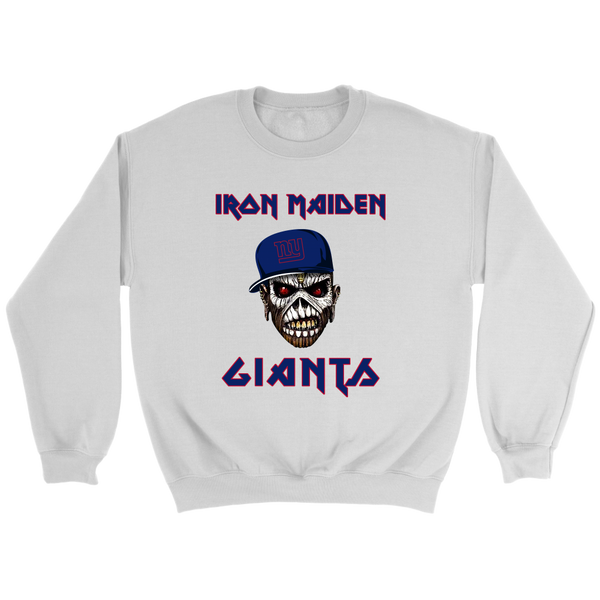 NFL - New York Giants Iron Maiden Heavy Metal Football Sweatshirt-T-shirt-Crewneck Sweatshirt-White-S-Itees Global