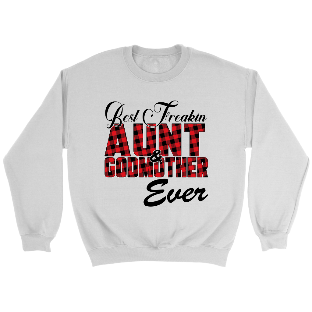 Best Freakin Aunt & Godmother Ever Sweatshirt-T-shirt-Crewneck Sweatshirt-White-S-Itees Global