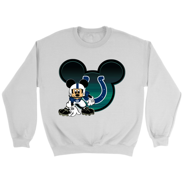 NFL – Indianapolis Colts Mickey Mouse Football Shirt-T-shirt-Crewneck Sweatshirt-White-S-Itees Global