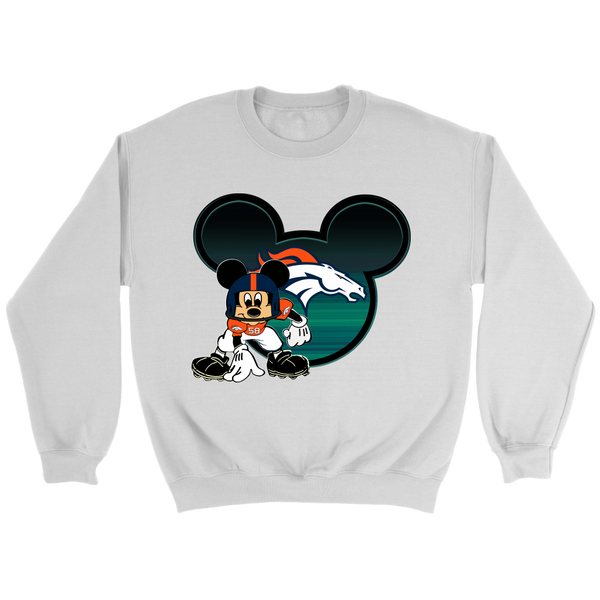 NFL – Denver Broncos Mickey Mouse Football Shirt-T-shirt-Crewneck Sweatshirt-White-S-Itees Global