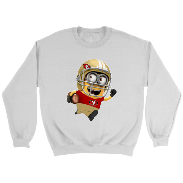 NFL – San Francisco 49ers Cute Minions Football Sweatshirt-T-shirt-Crewneck Sweatshirt-White-S-Itees Global