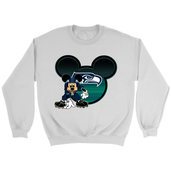 NFL – Seattle Seahawks Mickey Mouse Football Sweatshirt-T-shirt-Crewneck Sweatshirt-White-S-Itees Global