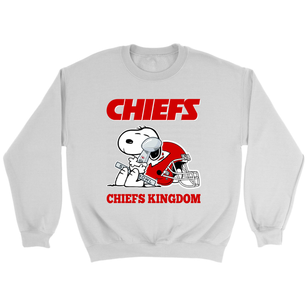 NFL – Kansas City Chiefs Kingdom Super Bowl 2019 Snoopy Football Shirts-T-shirt-Crewneck Sweatshirt-White-S-Itees Global