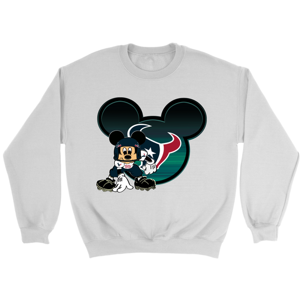 NFL – Houston Texans Mickey Mouse Football Shirt-T-shirt-Crewneck Sweatshirt-White-S-Itees Global