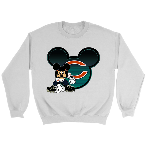 NFL – Chicago Bears Mickey Mouse Football Shirt-T-shirt-Crewneck Sweatshirt-White-S-Itees Global