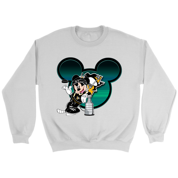 NHL – Pittsburgh Penguins Mickey Mouse Hockey Disney Sweatshirt-T-shirt-Crewneck Sweatshirt-White-S-Itees Global