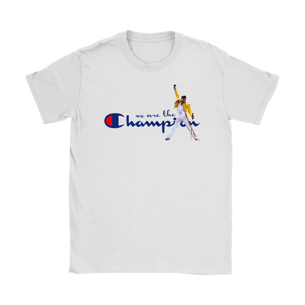WE ARE THE CHAMPIONS QUEEN FREDDIE MERCURY SHIRTS-T-shirt-Gildan Womens T-Shirt-White-S-Itees Global