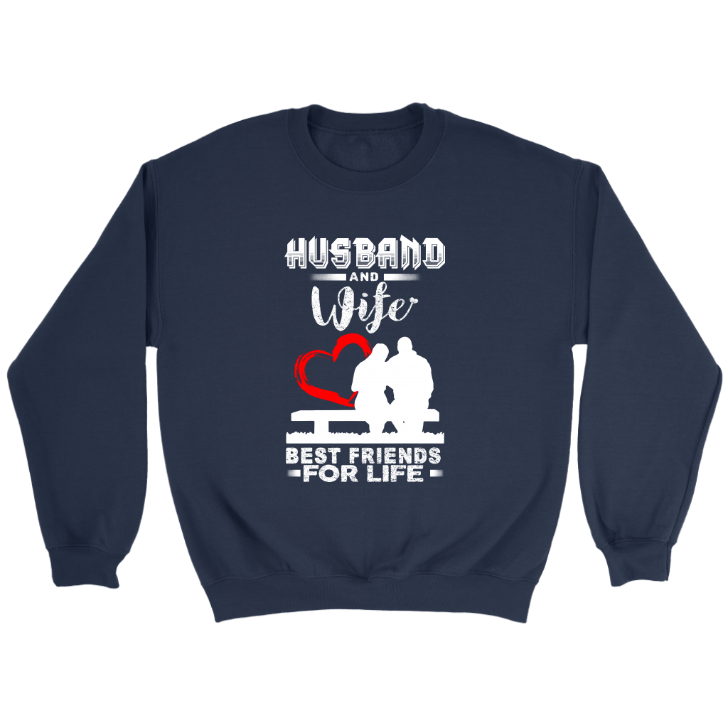 Husband And Wife Best Friends For Life Valentine's Day Couple Shirts-T-shirt-Crewneck Sweatshirt-Navy-S-Itees Global