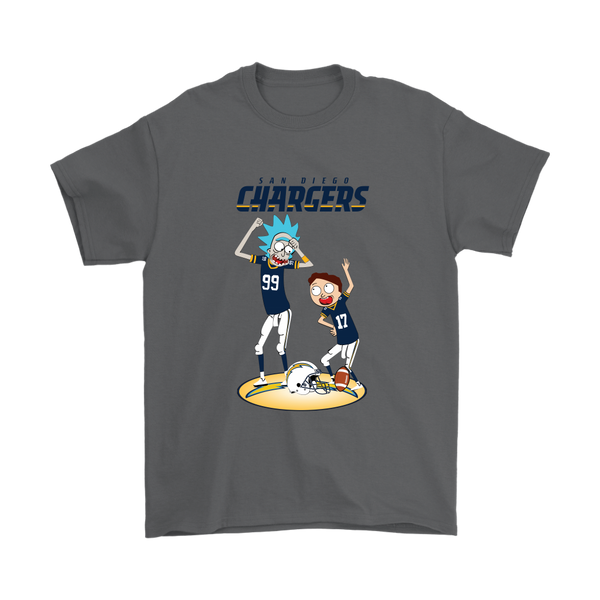 NFL - San Diego Chargers Rick And Morty Football NFL Shirts-T-shirt-Gildan Mens T-Shirt-Charcoal-S-Itees Global