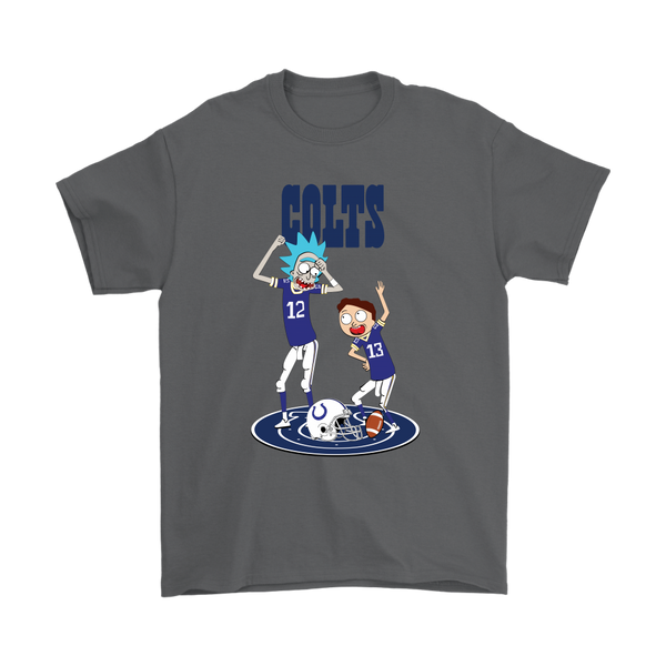 NFL - Indianapolis Colts Rick And Morty Football NFL Shirts-T-shirt-Gildan Mens T-Shirt-Charcoal-S-Itees Global