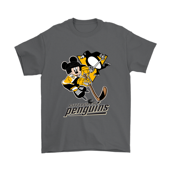 NHL – Pittsburgh Penguins Mickey Mouse Hockey Disney Shirts-T-shirt-Gildan Mens T-Shirt-Charcoal-S-Itees Global