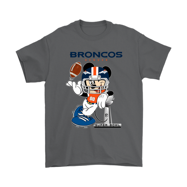 NFL – Denver Broncos Mickey Mouse Super Bowl Football Shirt-T-shirt-Gildan Mens T-Shirt-Charcoal-S-Itees Global