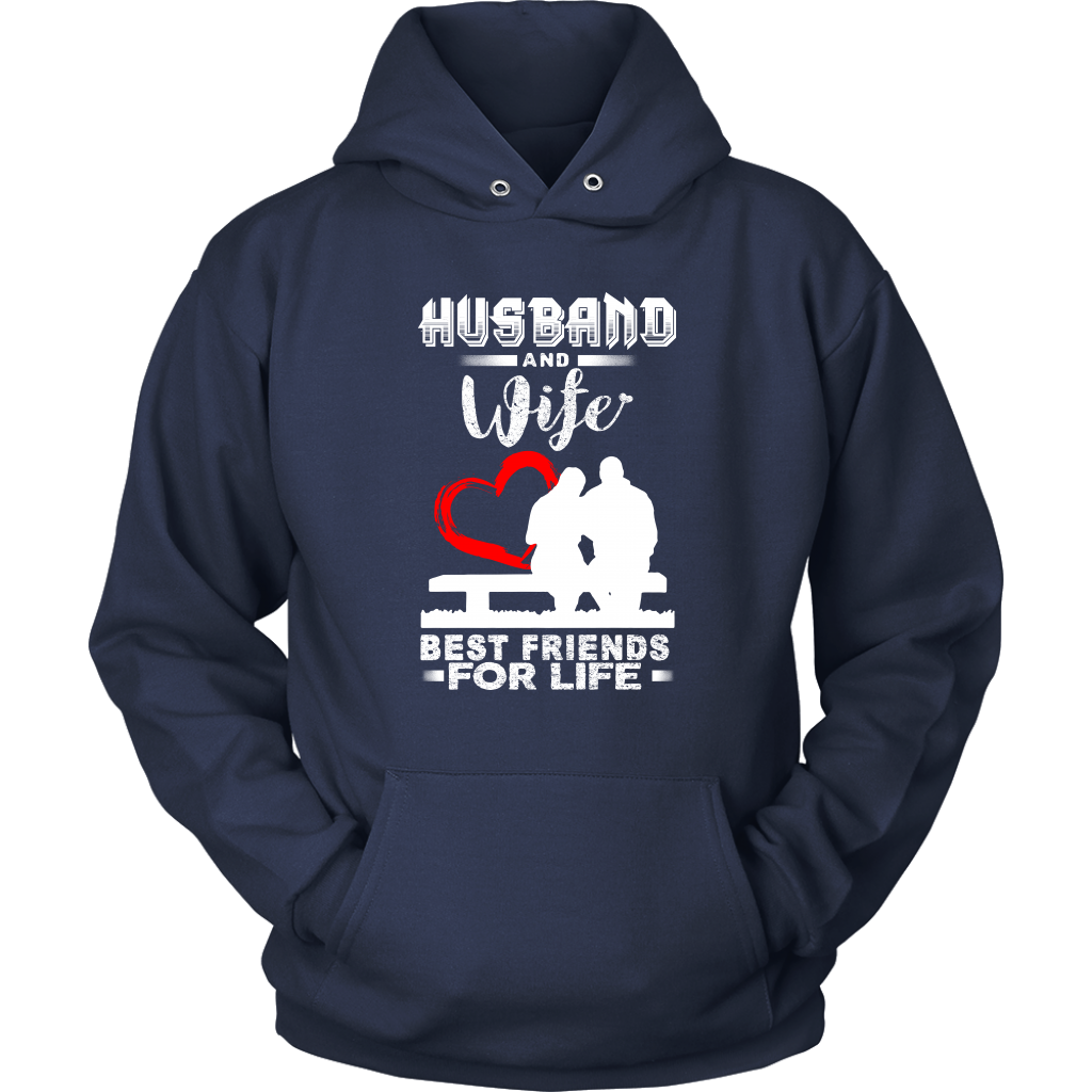 Husband And Wife Best Friends For Life Valentine's Day Couple Shirts-T-shirt-Unisex Hoodie-Navy-S-Itees Global