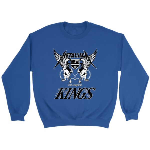 NHL - Los Angeles Kings Metallica Heavy Metal Hockey Sweatshirt-T-shirt-Crewneck Sweatshirt-Royal-S-Itees Global