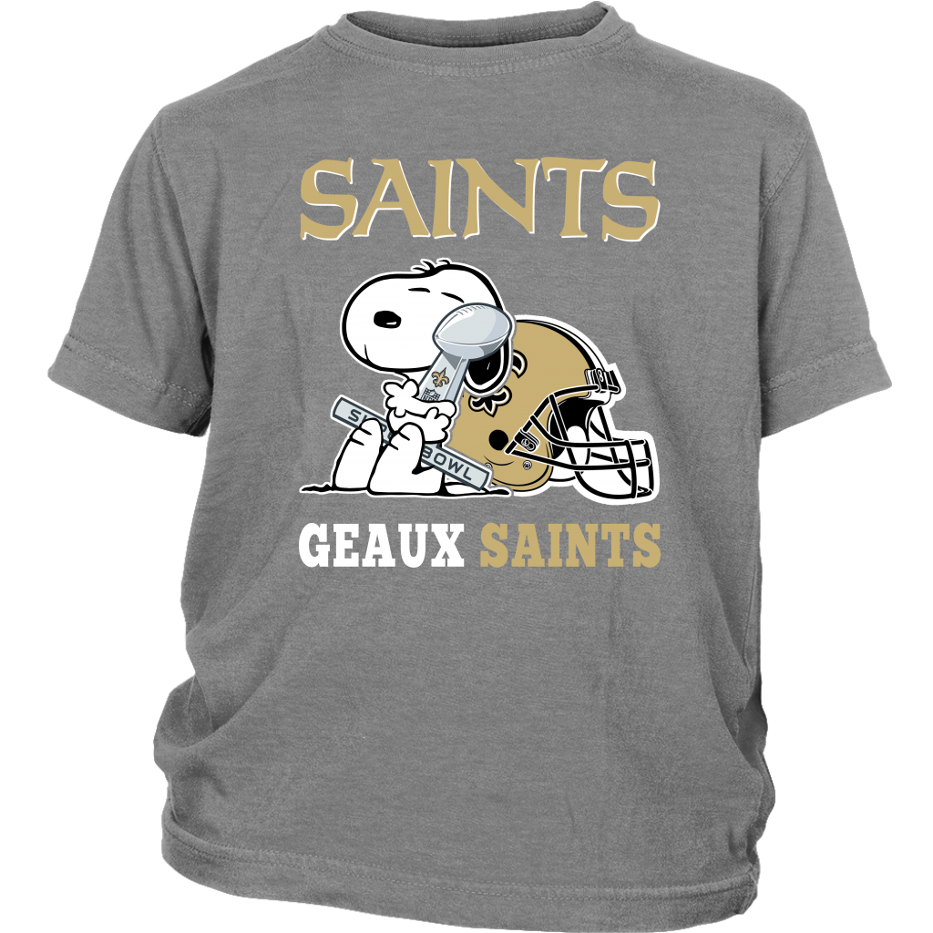 NFL – Geaux New Orleans Saints Super Bowl 2019 Snoopy Football Shirts-T-shirt-District Youth Shirt-Sport Grey-XS-Itees Global