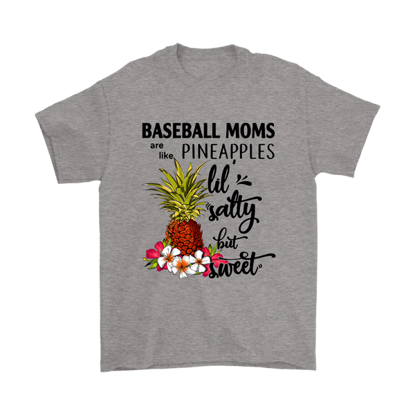 Baseball Moms Pineapples Lil Salty But Sweet Shirts-T-shirt-Gildan Mens T-Shirt-Sport Grey-S-Itees Global