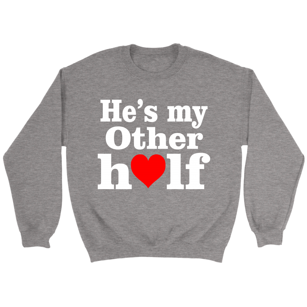 He's My Other Half Valentine's Day Couple Shirts-T-shirt-Crewneck Sweatshirt-Sport Grey-S-Itees Global