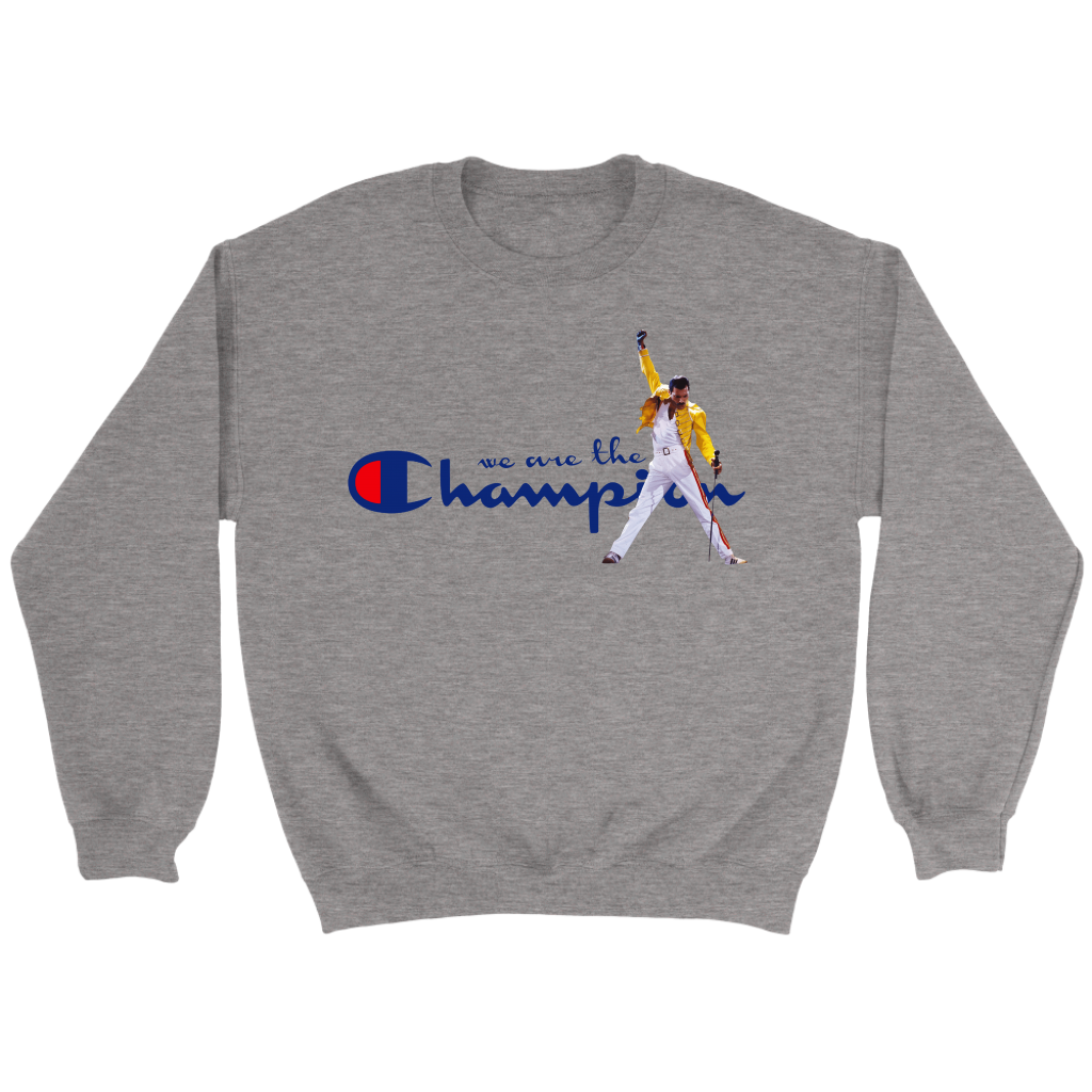 WE ARE THE CHAMPIONS QUEEN FREDDIE MERCURY SHIRTS-T-shirt-Crewneck Sweatshirt-Sport Grey-S-Itees Global