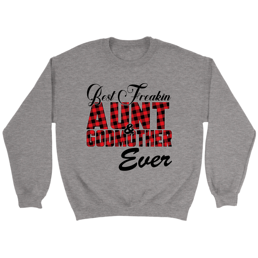 Best Freakin Aunt & Godmother Ever Sweatshirt-T-shirt-Crewneck Sweatshirt-Sport Grey-S-Itees Global