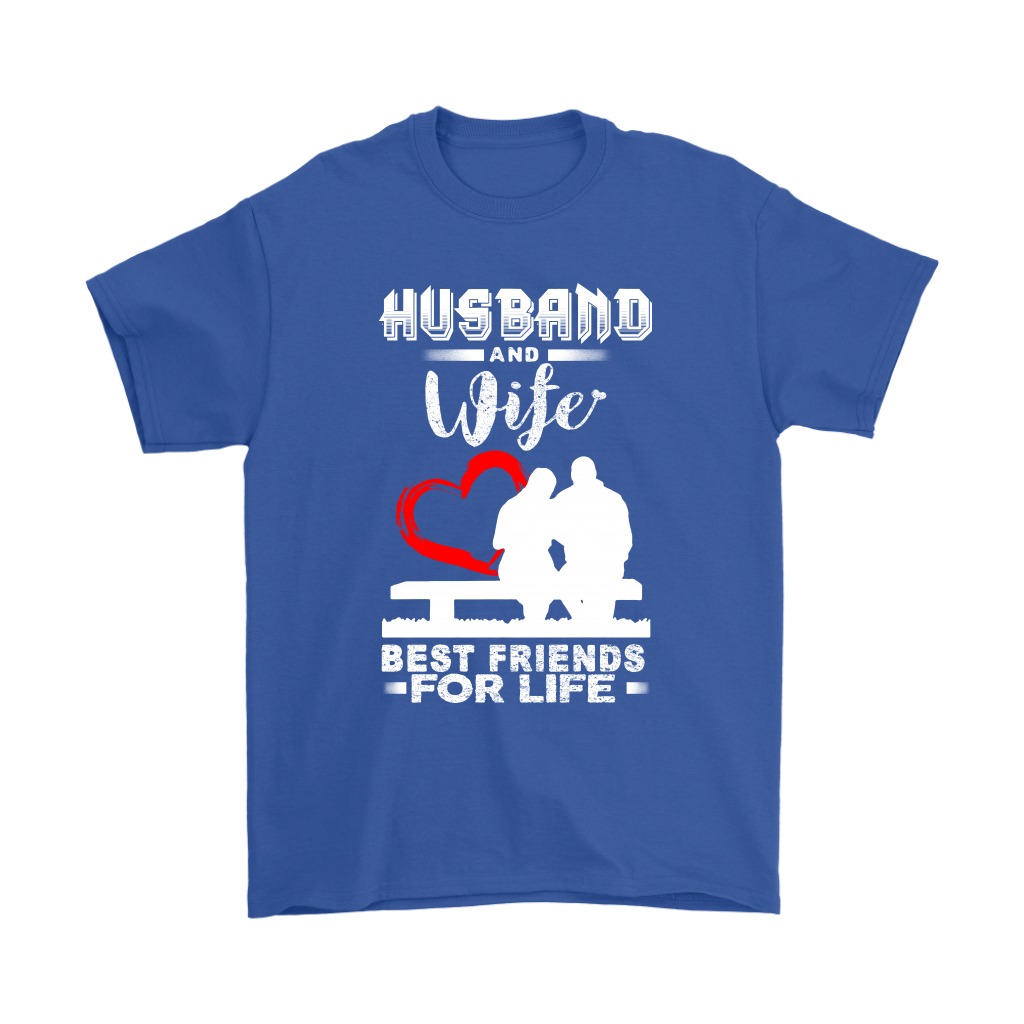 Husband And Wife Best Friends For Life Valentine's Day Couple Shirts-T-shirt-Gildan Mens T-Shirt-Royal Blue-S-Itees Global