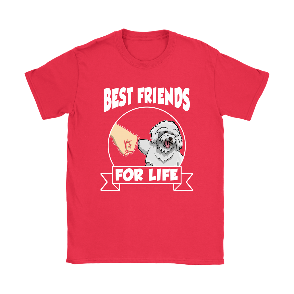 Bichon Frise Best Friends For Life Dog Shirts-T-shirt-Gildan Womens T-Shirt-Red-S-Itees Global