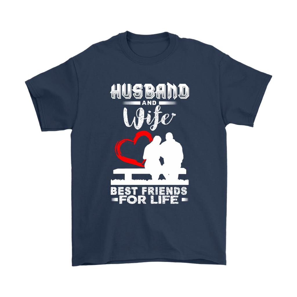 Husband And Wife Best Friends For Life Valentine's Day Couple Shirts-T-shirt-Gildan Mens T-Shirt-Navy-S-Itees Global