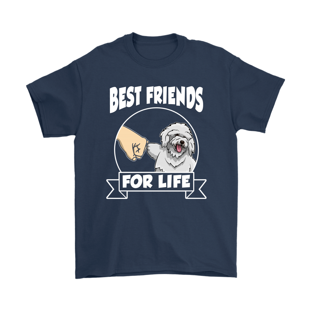 Bichon Frise Best Friends For Life Dog Shirts-T-shirt-Gildan Mens T-Shirt-Navy-S-Itees Global