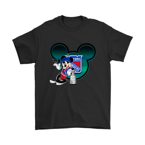 NHL – New York Rangers Mickey Mouse Hockey Disney Shirt-T-shirt-Gildan Mens T-Shirt-Black-S-Itees Global