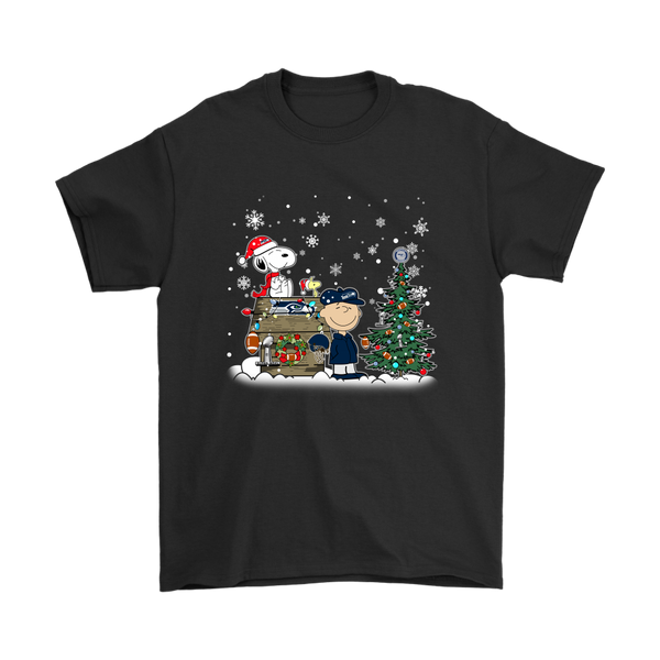 NFL – Seattle Seahawks Snoopy The Peanuts Movie Christmas Football Super Bowl Shirt-T-shirt-Gildan Mens T-Shirt-Black-S-Itees Global