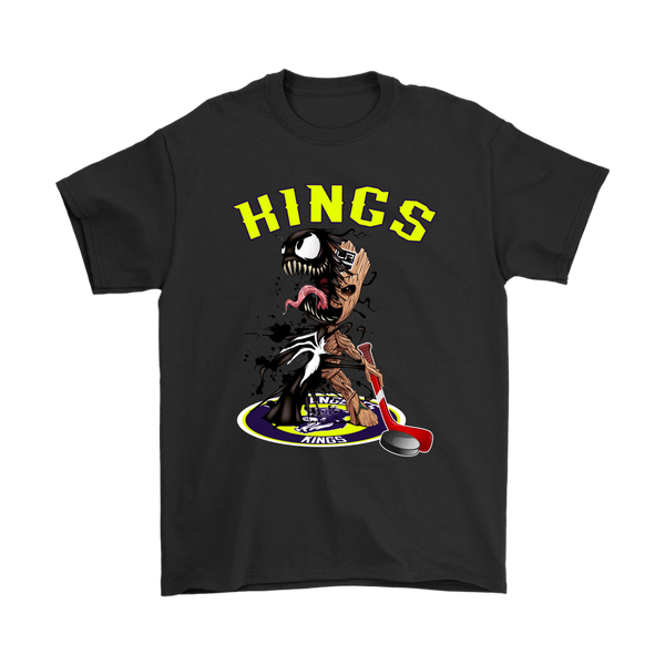 NHL – Los Angeles Kings Venom Groot Guardian Of The Galaxy Hockey Shirts-T-shirt-Gildan Mens T-Shirt-Black-S-Itees Global
