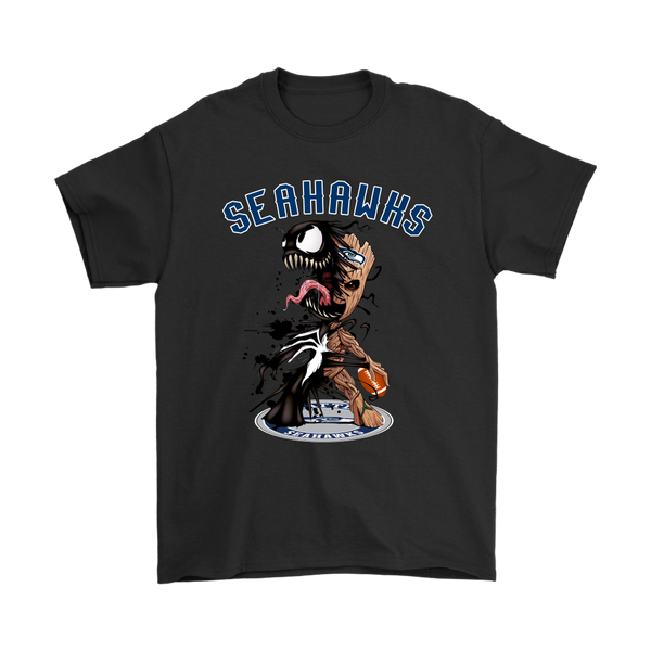 NFL – Seattle Seahawks Venom Groot Guardian Of The Galaxy Football Shirts-T-shirt-Gildan Mens T-Shirt-Black-S-Itees Global