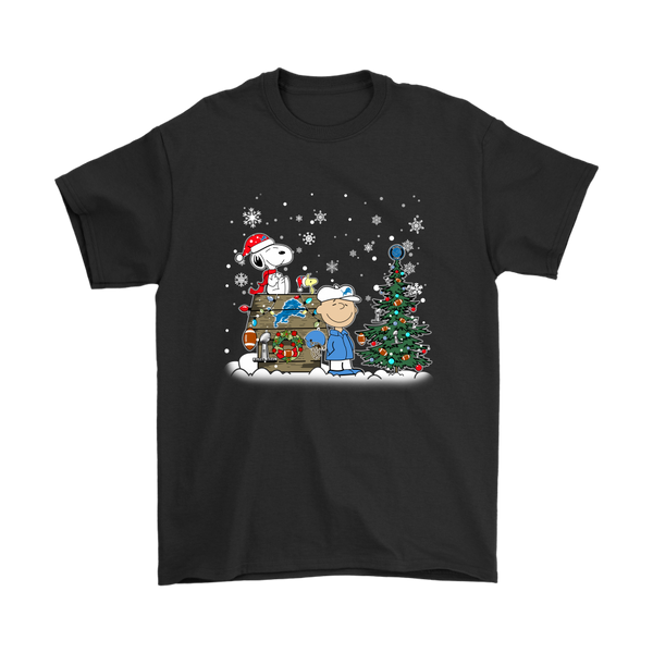 NFL – Detroit Lions Snoopy The Peanuts Movie Christmas Football Super Bowl Shirt-T-shirt-Gildan Mens T-Shirt-Black-S-Itees Global