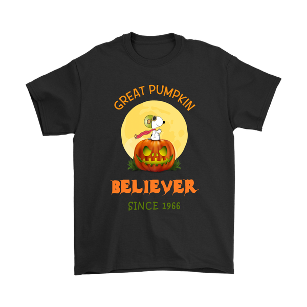 Great Pumpkin Believer Since 1996 Snoopy Halloween Shirts-T-shirt-Gildan Mens T-Shirt-Black-S-Itees Global