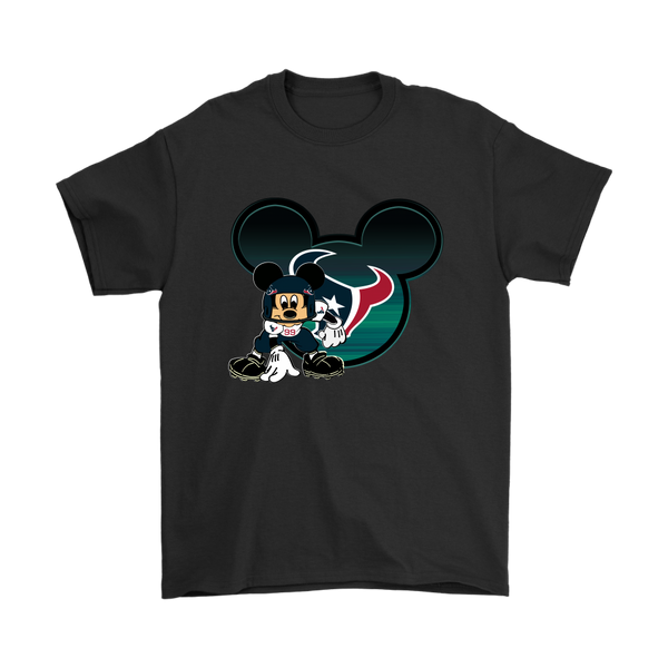 NFL – Houston Texans Mickey Mouse Football Shirts-T-shirt-Gildan Mens T-Shirt-Black-S-Itees Global