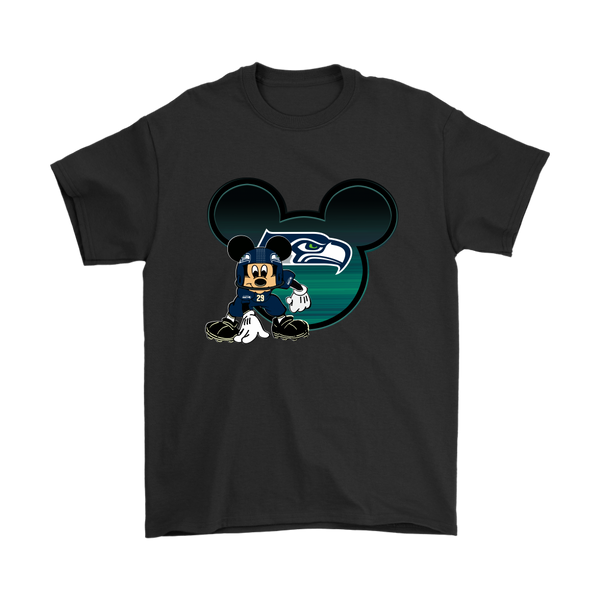 NFL – Seattle Seahawks Mickey Mouse Football Shirts-T-shirt-Gildan Mens T-Shirt-Black-S-Itees Global