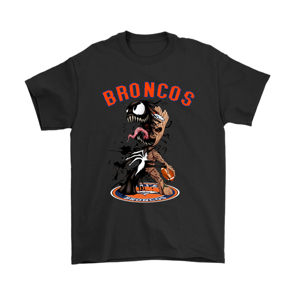 NFL – Denver Broncos Venom Groot Guardian Of The Galaxy Football Shirts-T-shirt-Gildan Mens T-Shirt-Black-S-Itees Global