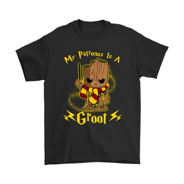My Patronus Is A Groot Harry Potter Shirts-T-shirt-Gildan Mens T-Shirt-Black-S-Itees Global