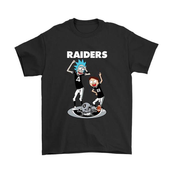 NFL - Oakland Raiders Rick And Morty Football NFL Shirts-T-shirt-Gildan Mens T-Shirt-Black-S-Itees Global