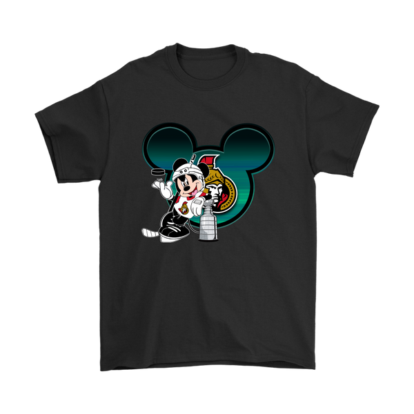 NHL – Ottawa Senators Mickey Mouse Hockey Disney Shirt-T-shirt-Gildan Mens T-Shirt-Black-S-Itees Global