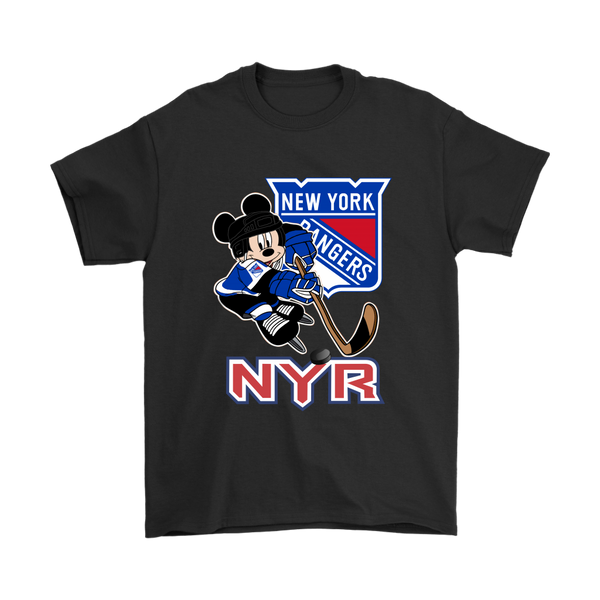 NHL – New York Rangers Mickey Mouse Hockey Disney Shirts-T-shirt-Gildan Mens T-Shirt-Black-S-Itees Global