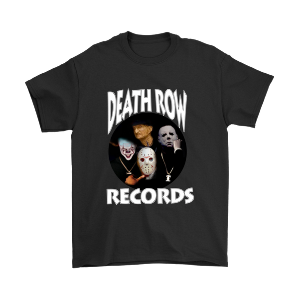 Death Row Records Pennywise IT Jason Voorhees Friday the 13th Freddy Krueger A Nightmare on Elm Street Michael Myers Halloween Shirts-T-shirt-Gildan Mens T-Shirt-Black-S-Itees Global