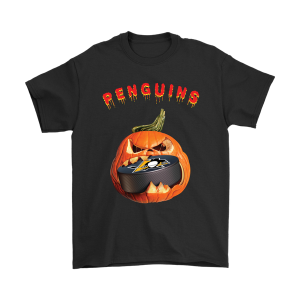 NHL – Halloween Pumpkin Pittsburgh Penguins Hockey NHL Shirts-T-shirt-Gildan Mens T-Shirt-Black-S-Itees Global