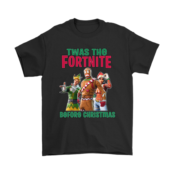 Fortnite - Twas The Fortnite Before Christmas Merry Marauder Nog Ops Codename E.L.F Shirts-T-shirt-Gildan Mens T-Shirt-Black-S-Itees Global