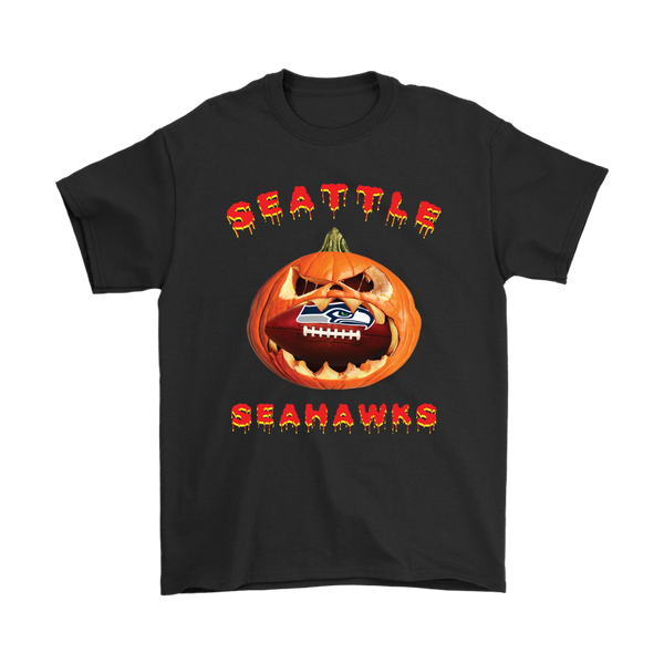 NFL – Halloween Pumpkin Seattle Seahawks Football NFL Shirts-T-shirt-Gildan Mens T-Shirt-Black-S-Itees Global