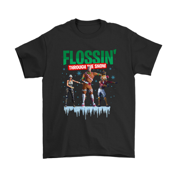 Fortnite - Flossing Through The Snow Christmas Merry Marauder Recon Specialist Shirt-T-shirt-Gildan Mens T-Shirt-Black-S-Itees Global