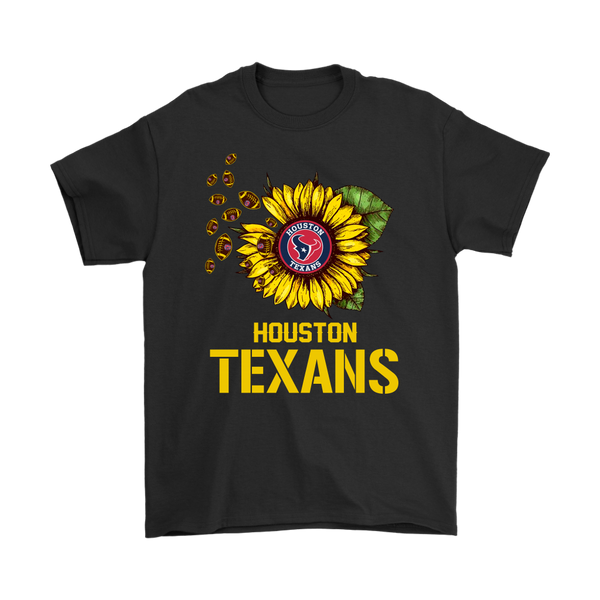 NFL - Houston Texans Sunflower Football NFL Shirts-T-shirt-Gildan Mens T-Shirt-Black-S-Itees Global