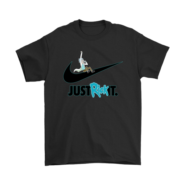 Just Rick It Rick And Morty Nike Logo Shirts-T-shirt-Gildan Mens T-Shirt-Black-S-Itees Global